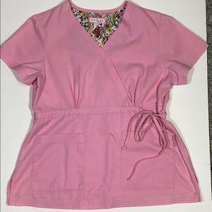 Koi Women's Scrub Top Pink Large Medical scrubs
